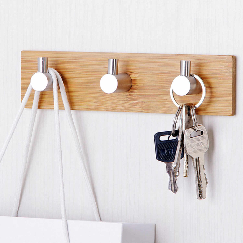 Behogar настенный без сверления самоклеющиеся наклейки деревянные крючки полотенца крюк для одежды для кухни комнаты ванной комнаты 3 крючка