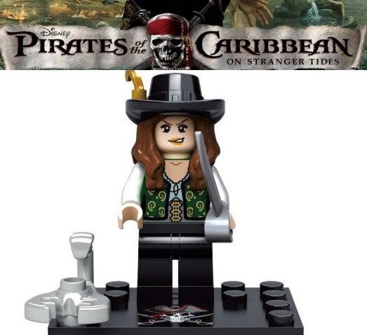 Single Captain Pirates of The Caribbean Jack Sparrow Elizabeth Mermaid David building blocks models bricks toys for children kit