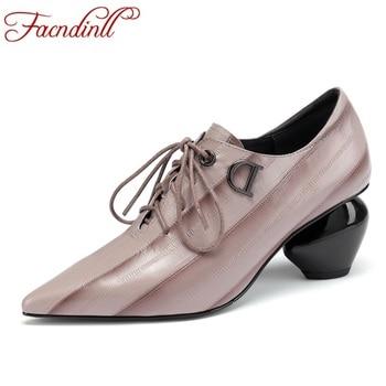 FACNDINLL casual women 2019 brand design high heels genuine leather women pumps new arrival autumn fashion dress  shoes woman