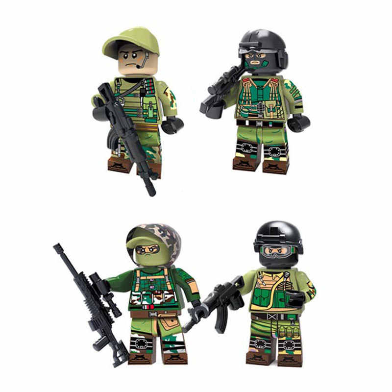 4pcs/lot Russian Army Anti-terrorism Soldiers figures Legoinglys Military building blocks diy mini brick Toys for Children