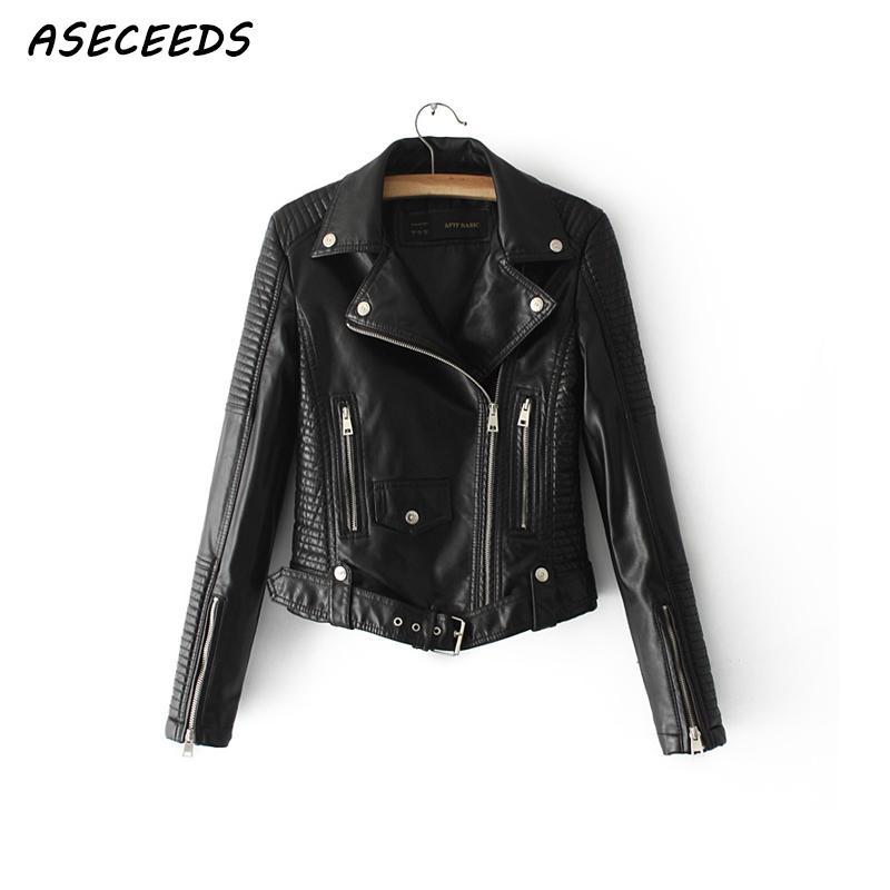 Autumn Lady basic Motorcycle coat   leather   jacket for women Street fashion faux   leather   jacket women zipper short biker jacket