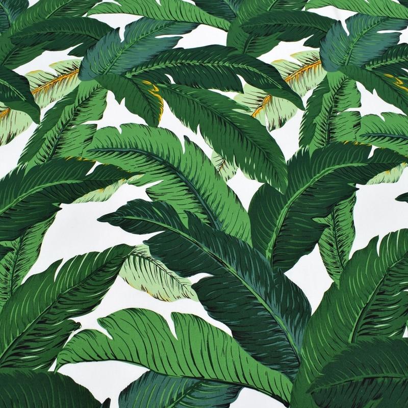 Yaşıl banan yarpaq boyası uzanan atlaz pambıq parça paltar toxumaları üçün au metr DIY ucuz parçalar tecido patchwork telas toxuması