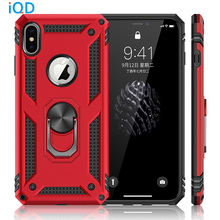 IQD Ring Stand Cover for iphone X XS MAX XR Case Rotating Metal Hidden Car Adsorption Apple 8 7 6 6s Plus Phone Cases