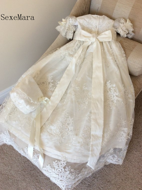 Newborn Ivory Lace Baby Girls Christening Gown Long Baptism Dress Heirloom Gown set Christening Dress with Bonnet Any Size gorgeous white ivory baby girls heirloom christening gown with bonnet baby girls boys baptism robe dress