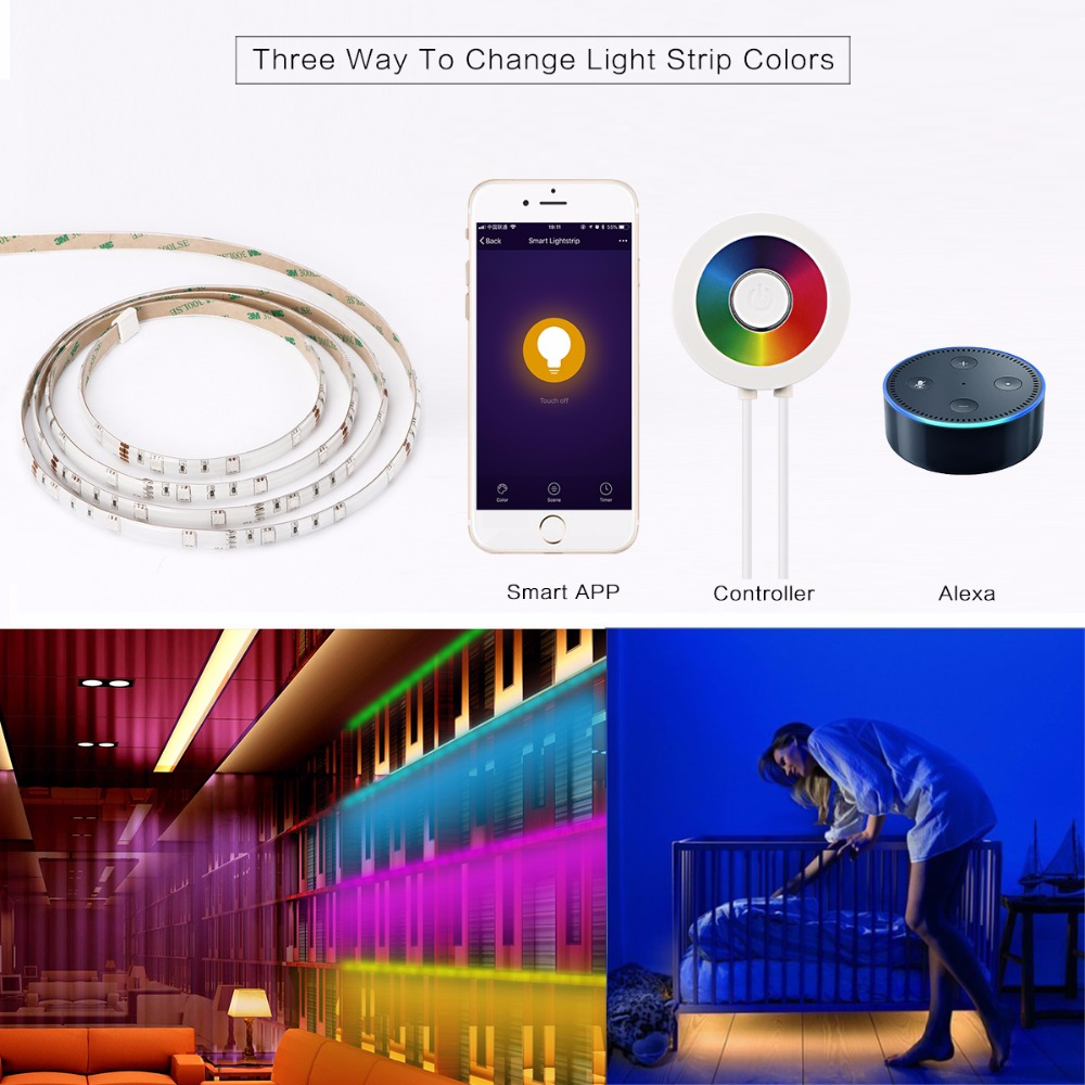 12w 2m Rgb 120 Led Wifi Strip Light Kit Support Touch