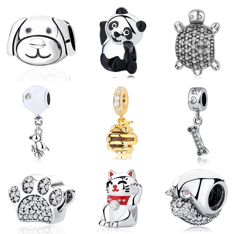 Authentic 925 Sterling Silver Beads Charm Cute Panda Clear Crystal Charms Pendant Fit Original Pandora Bracelets Women Jewelry
