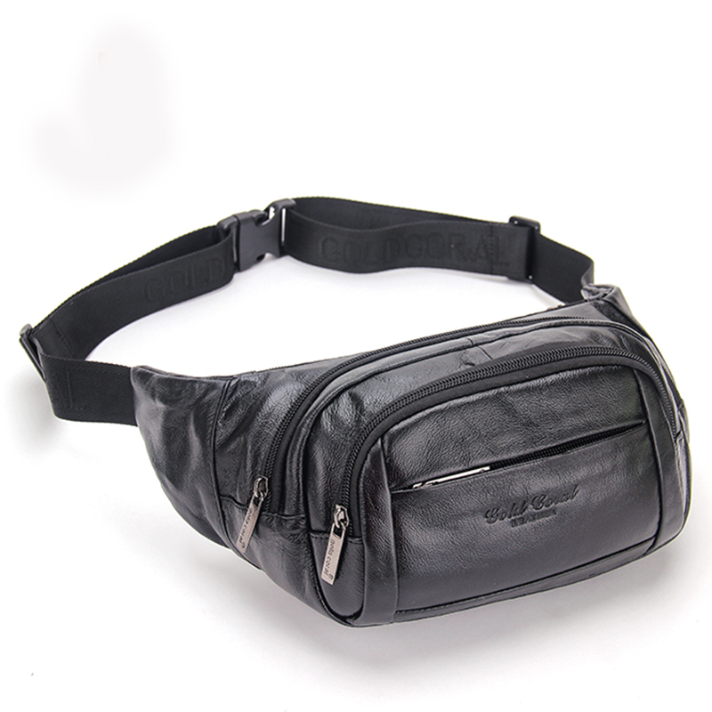 Oil Wax Cowhide Male Hip Bum Belt Fanny Pack Multi-Pocket Chest Shoulder Bags Travel Casual Purse Men Genuine Leather Waist Bag