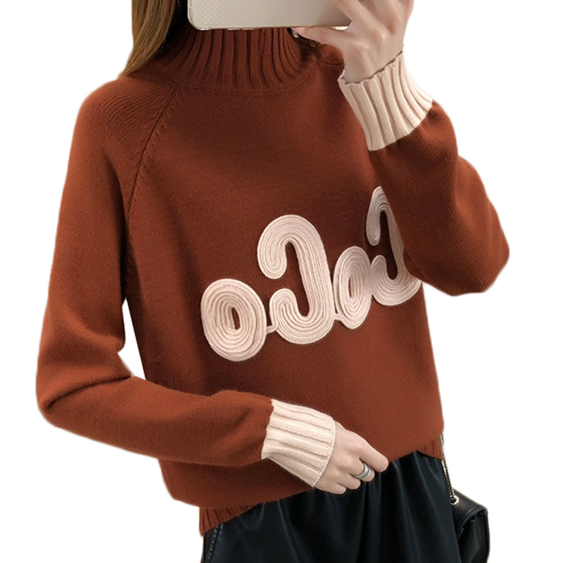 Autumn Winter Women Sweater 2018 New Half Turtleneck Sweater Pullover Color Matching Letter Women Clothing Warm Knit Tops AA323