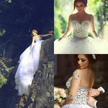 206 Romantic Wedding Dress With Long Sleeve Backless