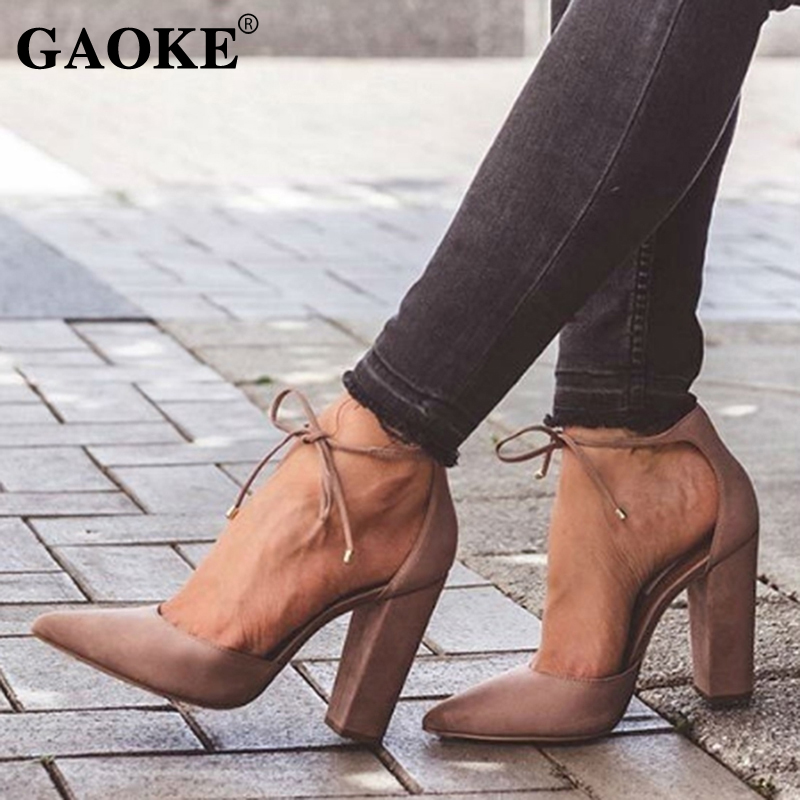 6 Colors Pointed Strappy Pumps Sexy Retro High Thick Heels Shoes 2018 New Woman Shoes Female Lace Up Shoes
