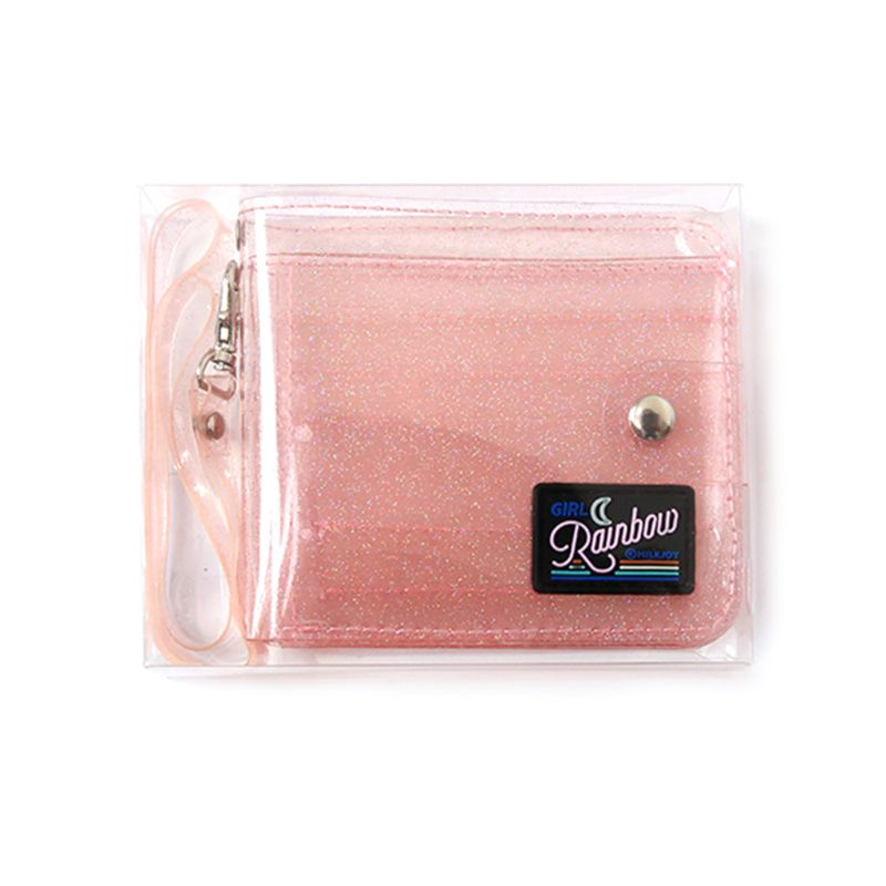 3 Colors Transparent ID Card Holder PVC Folding Short Wallet Fashion Women Girl Glitter Business Cards Case Purse With Lanyard