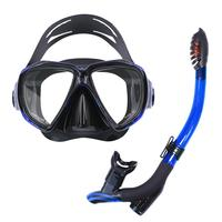 Professional Blue New 3D Anti Fog Silicone Diving Mask Snorkel Adult Goggles Glasses Tempered Super clear mask Swimming Tools