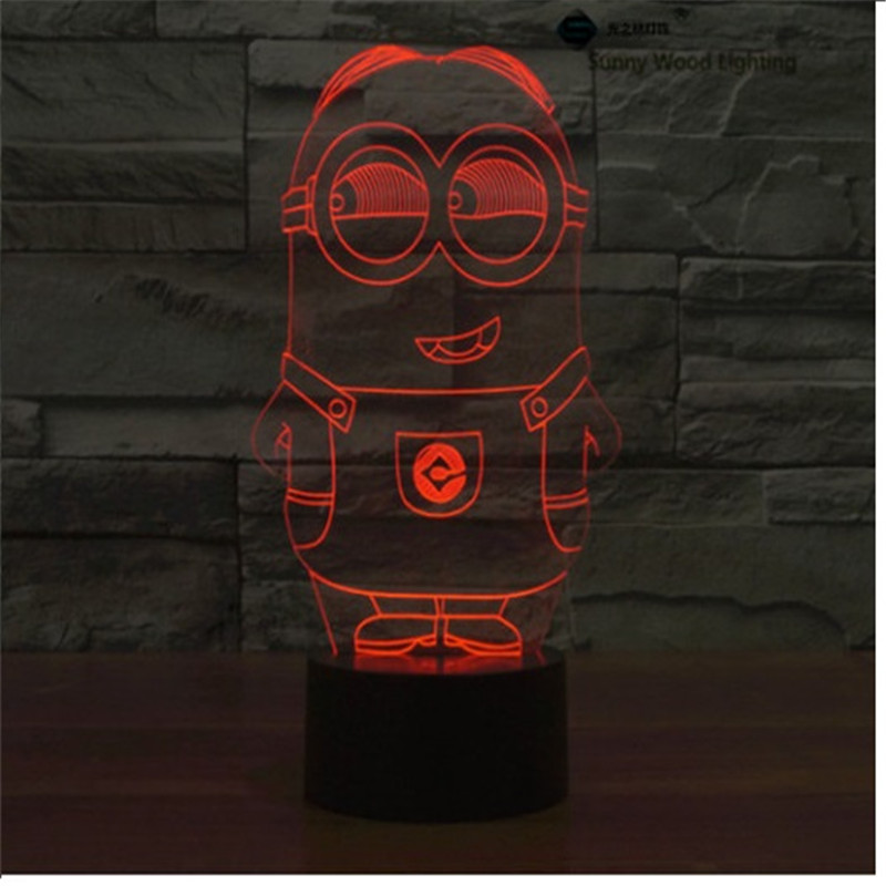 Minions switch LED 3D lamp,Visual Illusion 7color changing 5V USB for laptop,Christmas cartoon toy lamp