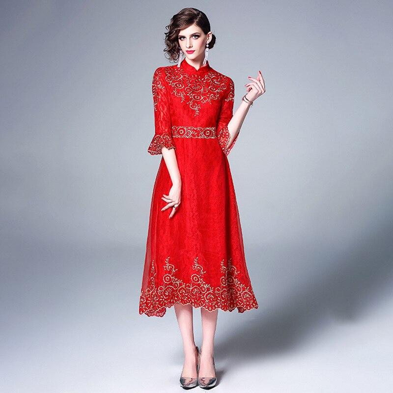 Été nouveau style rétro dentelle femme travail lourd broderie cheongsam, tempérament chinois élégant et Indie robe folklorique c80