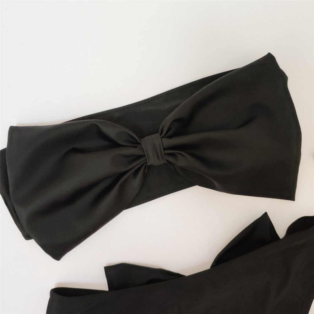 Kostium kąpielowy kobiety czarna tubka Top Bikini Bowknot przód stringi Bikini średnio wysoka talia strój kąpielowy bez ramiączek strój kąpielowy lato # OX