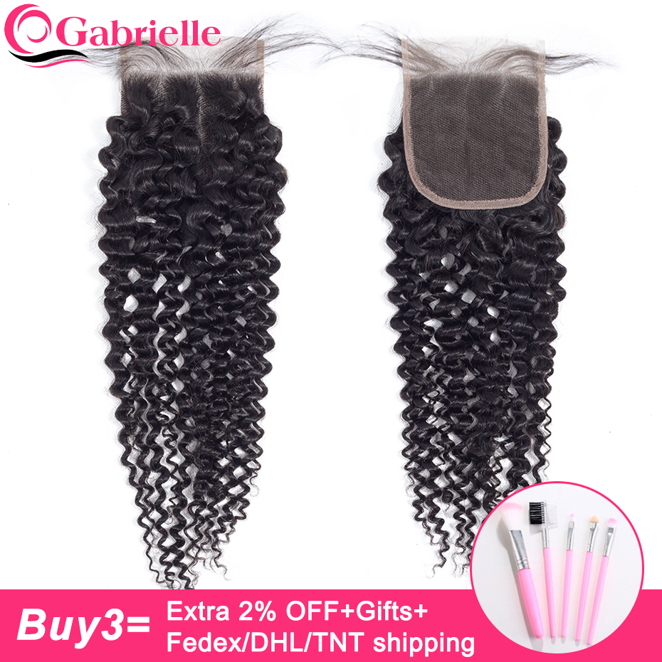 Gabrielle Curly Closure Human-Hair Black-Color Swiss Kinky Remy Natural Brazilian 4x4