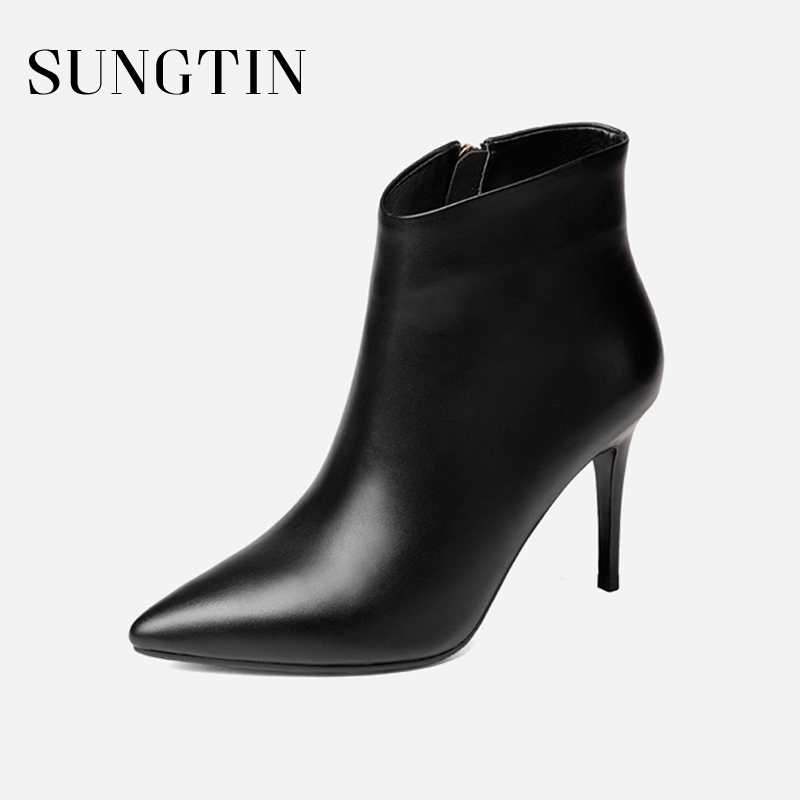 Sungtin Basic Classic Cow Leather Ankle Boots Women All Match Shoes Pointed Toe Short Boots Lady High Heels Female Stilettos women s ankle boots strappy pointed toe vogue comfy all match shoes