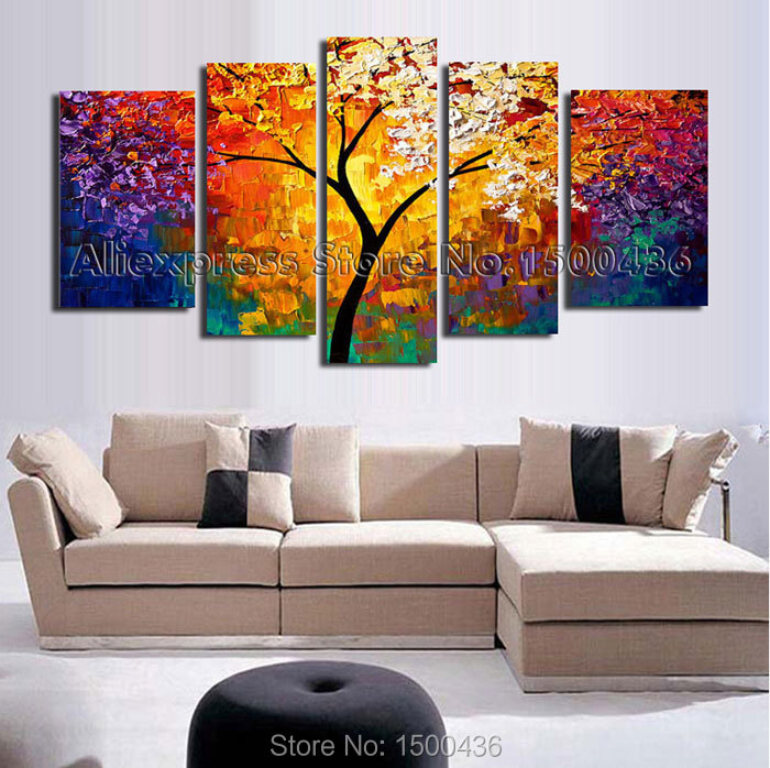 3 Teilige Leinwand Hand Painted Abstract Tree Oil Painting On Canvas Modern