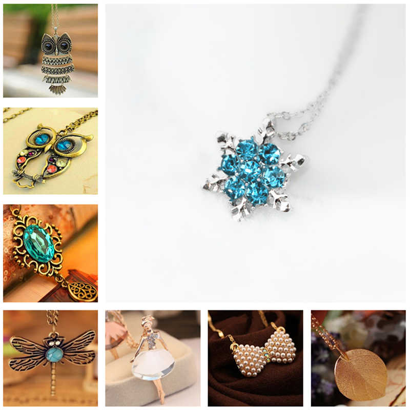 H1 Vintage Owl Butterfly Pendant Long Necklace Fashion Leaf Pineapple Statement Necklace For Women High Quality Gift Wholesale