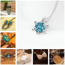 H1 Vintage Owl Butterfly Pendant Long Necklace Fashion Leaf Pineapple Statement Necklace For Women High Quality Gift Wholesale(China)
