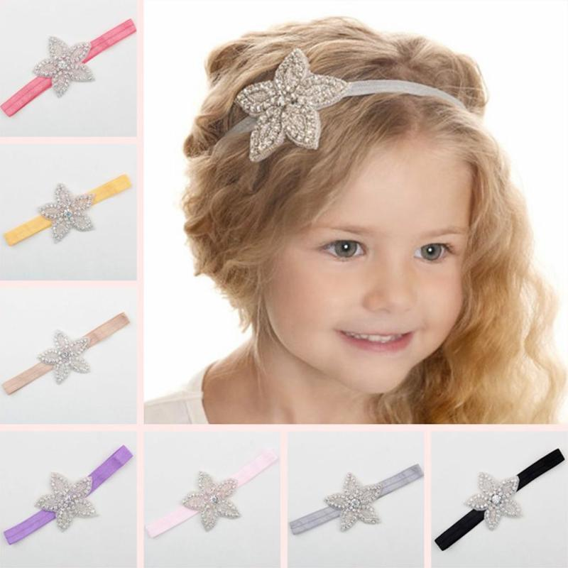 children rhinestone flower star headband girls hair bands kids girl wedding party hair accessories princess headwear