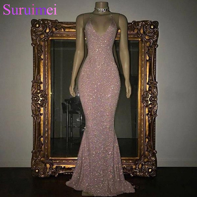 ac61e4bcb8 Free Shipping 2019 Stunning Rose Pink Sequined 2K19 Prom Dresses Sexy  Elegant Spaghetti Straps Mermaid Sleeveless Evening Gowns