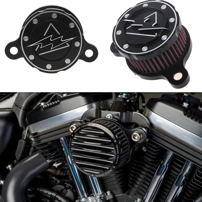 ФОТО New Black Air Cleaner Intake Filter Motorcycle CNC Air Cleaner+Intake Filter System for 2004-2014 Harley Sportster XL 883 1200