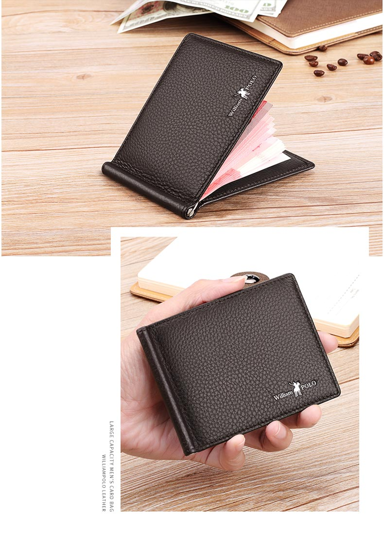 WilliamPOLO Genuine Leather Money Clips Wallet With Coin Pocket Minimalist Card Holder for Men