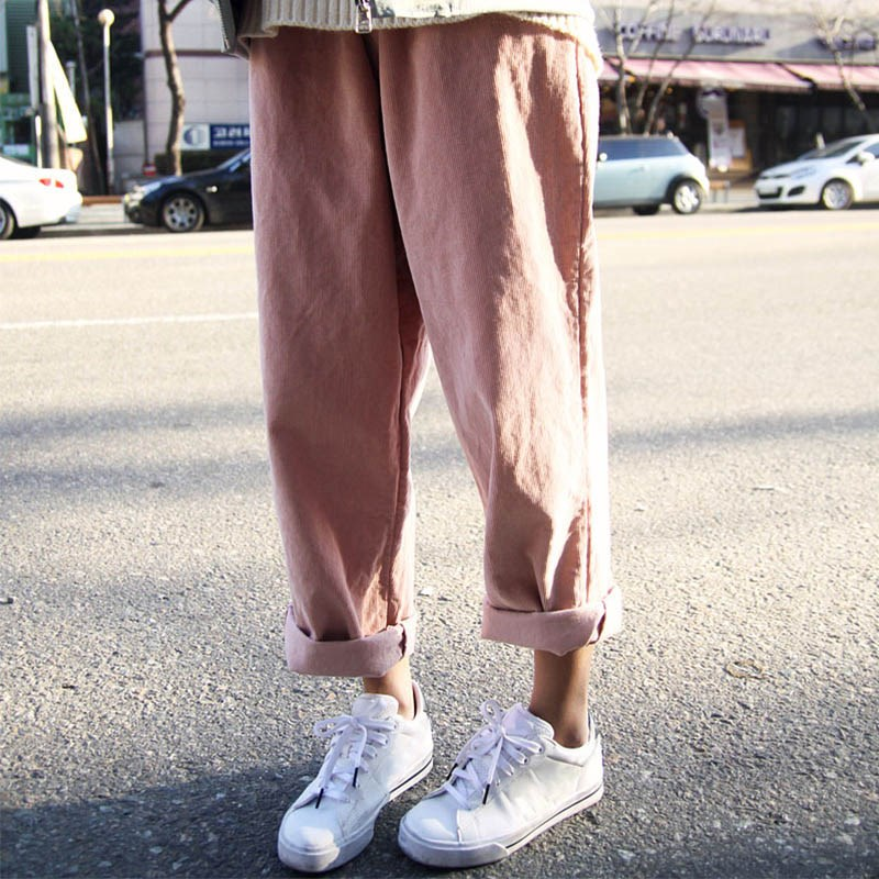 Best selling Harajuku corduroy   wide     leg     pants   female Autumn new street clothing loose wild casual straight women trousers