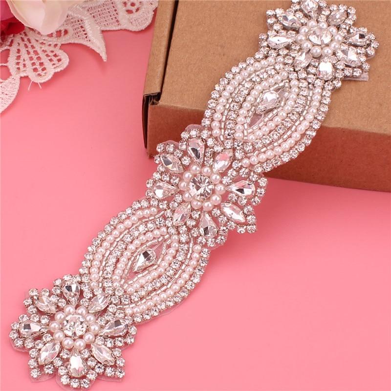 Handmade Bridal Wedding Crystal Rhinestone Bead Flower Dress Dinner Belt