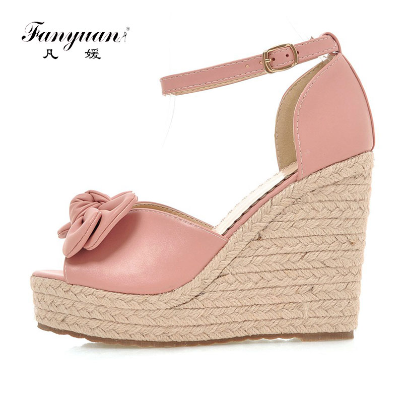 Fanyuan Summer shoes woman fashion Wedge Sandals Peep toe high Heels Platform Sandals bride Wedding sweet Bow-knot White shoes carollabelly sweet flower women pumps high heels lace platform pearls rhinestone wedding shoes bride dress shoes summer sandals