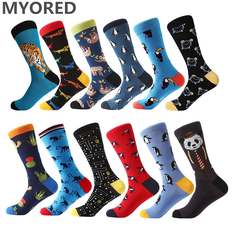 MYORED 12pairs/Lot mens socks combed cotton cartoon animal tiger harajuku cool long socks big size colorful dress for men women