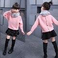 Nova adorável crianças blusas roupas quentes menina camisola Coréia Do lutador asa de morcego luva malha camisola na primavera e no outono