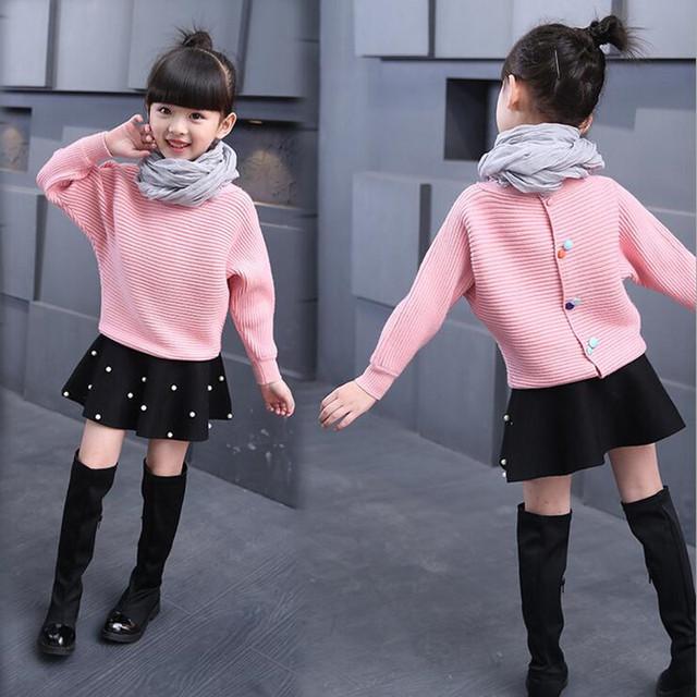 Nuevos niños encantadores suéteres ropa de abrigo suéter de la muchacha de Corea de combate ala de murciélago de manga suéter de punto en la primavera y el otoño