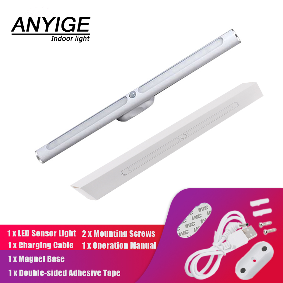 Under Cabinet Lights Rechargeable Usb Led Under Cabinet Light Pir Motion Sensor Bar Led Lights For Home Smart Night Lamp Bedroom Closet Kitchen Light