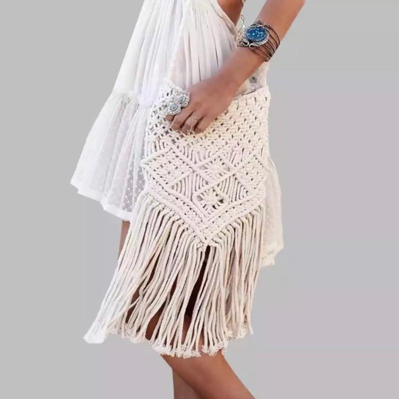 New Handmade Rope Woven Handbag Knitted Rattan Summer Beach Bag Tassel Bohe Bolsos Feminine Crochet Fringed Women Shoulder Bags
