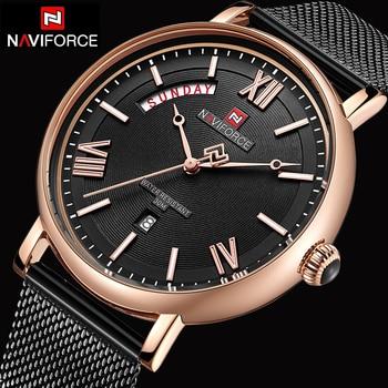 NAVIFORCE Top Luxury Brand Fashion Watches Men Mesh Steel Quartz Watch Waterproof