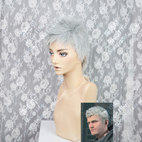 Anime Devil Can Cry 5 Nero Cosplay Wig Cosplay Costume Hair Wig Devil Game Hunter Nero Short Silver Gray Hair + Wig Cap