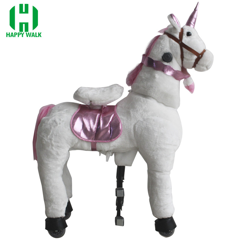 Toy Island Toys Plush Walking Ride On Horse Toy Stable Unicorn Animal Ride