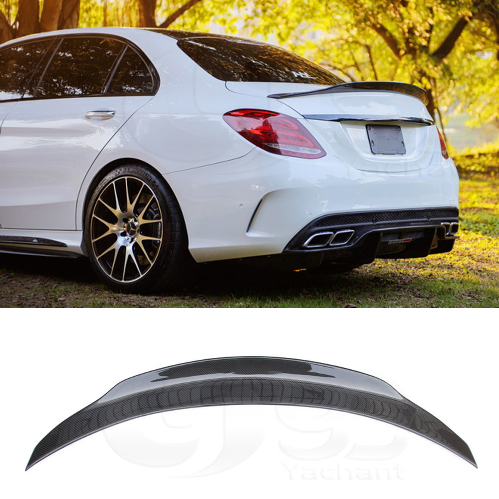 c class w205 Carbon fiber Spoiler Wing Lip Sticker Fiber Auto Trunk for Benz C-Class W205 C63 AMG 2015-2018 image