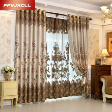 High Shading Cotton Linen Europe Luxury Embroidered Tulle For living Room Bedroom Blackout Curtain Window Treatment Drapes