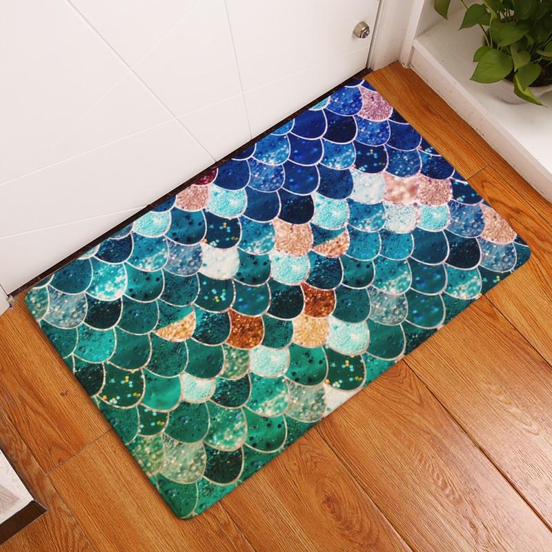 Keset Karpet Shiny Timbangan Geometri Cetak Tikar Lantai Dapur Kamar - Tekstil rumah