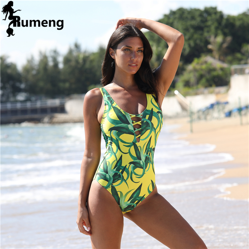 RUMENG <font><b>2018</b></font> <font><b>Sexy</b></font> <font><b>One</b></font> <font><b>Piece</b></font> <font><b>Swimsuit</b></font> <font><b>Women</b></font> <font><b>Swimwear</b></font> <font><b>Green</b></font> Leaf Bodysuit Bandage Cut Out image