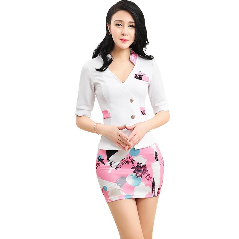 ACRMRAC Women's Suits New Summer Short Slim Patchwork Printing Short Sleeve Jacket Skirt Business OL Formal Skirt Suits