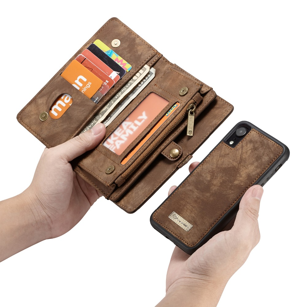For IPhone XR Case 2 IN 1 Detachable Zipper Wallet Folio Magnetic Cover Genuine Leather Cases For IPhone XR 6.1 Inch IPhone XS 7