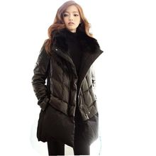 Latest winter fashion women down jacket thicken super warm medium long leather coat long sleeves loose plus-size parkas NZ413