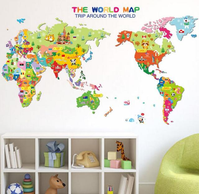 Weltkarte Wandaufkleber Design Dekoration Warme Schulen Seminary Kinder  Schlafzimmer Cartoon Karte Bunte Bildung Student Lehrer