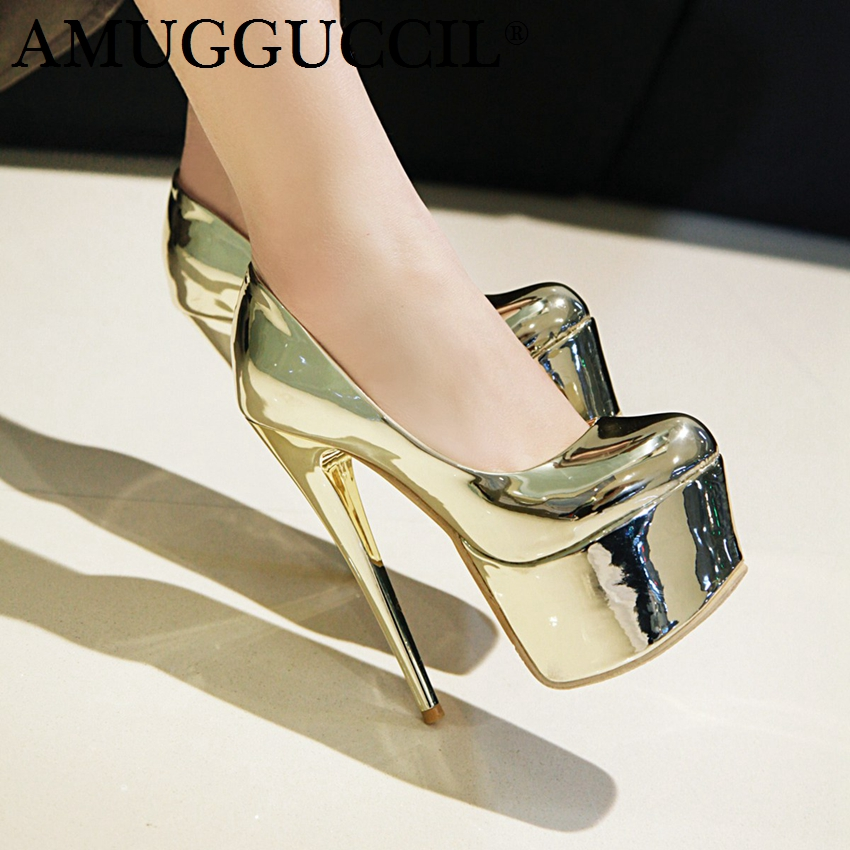 2019 New Plus Big Size 31-48 Gold Silver Fashion Sexy 16CM High Heels Platform Party Females Lady Shoes Women Pumps D1230