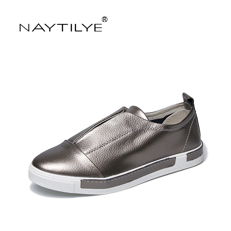 2018 New Womens Casual Shoes Comfort Leather Silver White Size 35-432018 New Womens Casual Shoes Comfort Leather Silver White Size 35-43