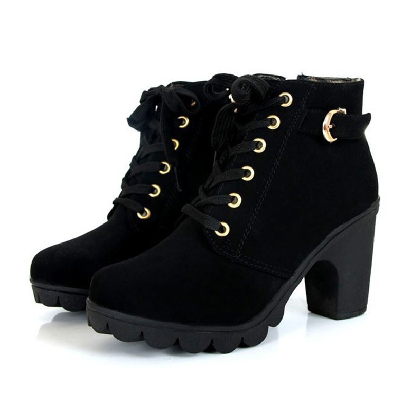 VSEN Hot Women Fashion Lacing Side zipper Thick crust High-heeled Ankle Boots vsen hot styleluggage bag replacement plastic 1 side rectangle buckle 10 pcs